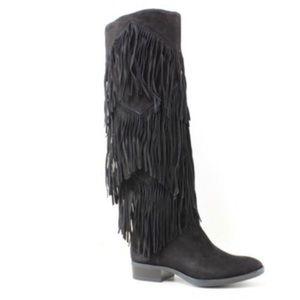 Sam Edelman fringe black pendra knee high boot